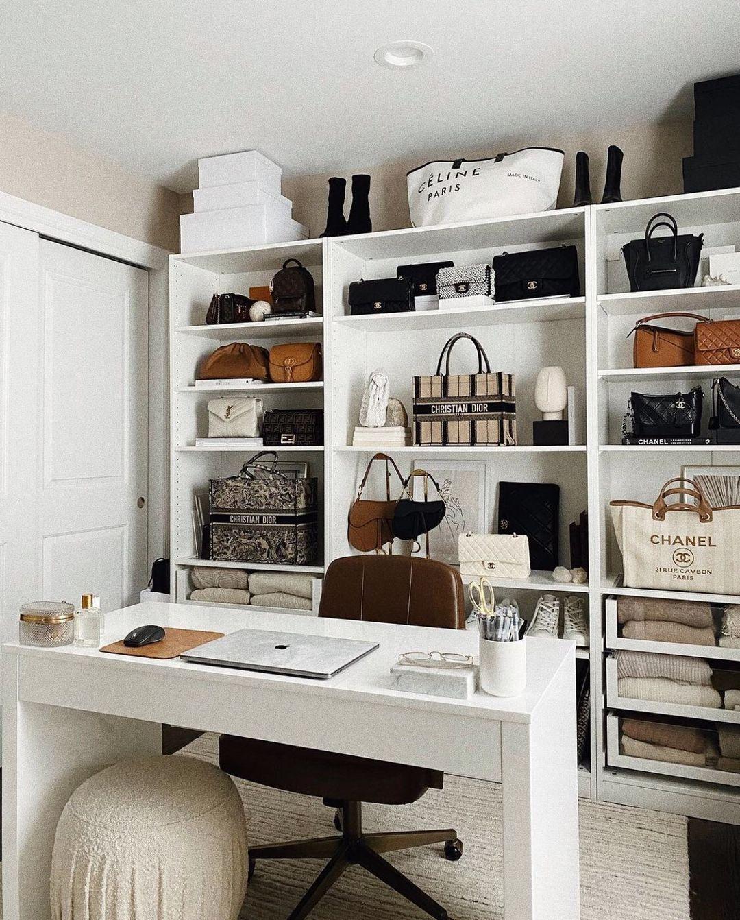 """S T A R L O W ® on Instagram: """"Cloffice goals 👢👡👝👜💼 via @alyssa.lenore #shopstarlow #officespace #officedecor #officedesign #walkincloset #closetorganization"""""""