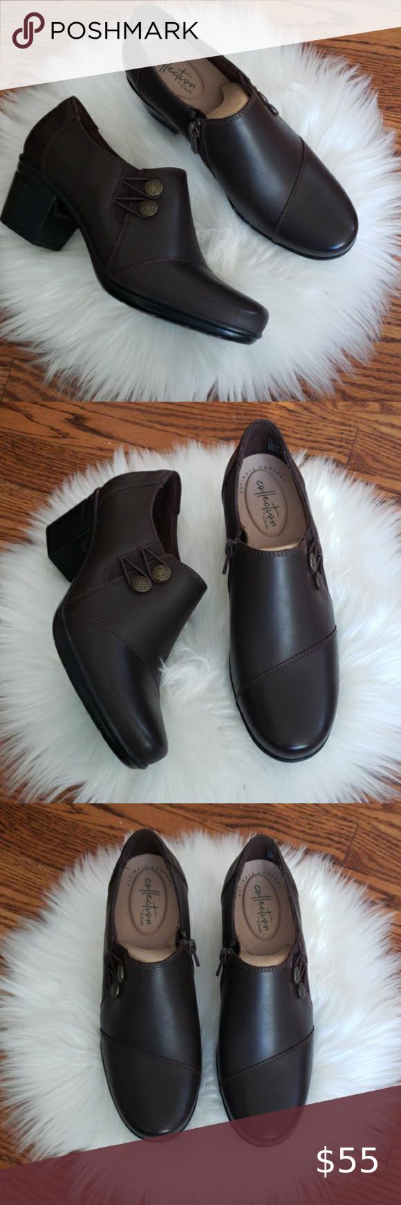Clark's Emslie Warren dark brown slip on loafers Leather  Imported  Rubber sole  Heel measures approximately 2
