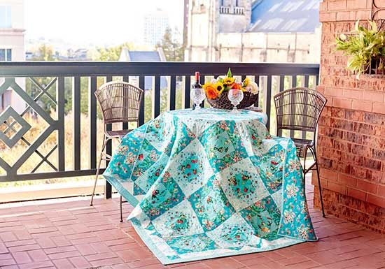 Romantic shabby chic and vintage quilt pattern from FreeSpirit designer Verna Mosquera's Frut y Flor fabric collection.