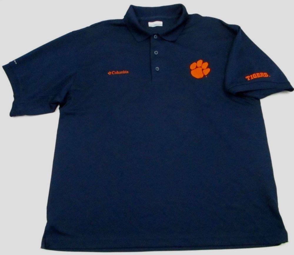 1179b373084 Clemson Tigers NCAA vented Fishing polo Shirt L large blue Columbia PFG # Columbia #ClemsonTigers