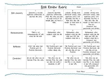rubric for writing a book