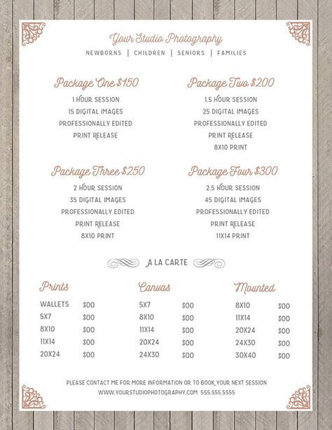 Price Sheet Photography Template  Photography Price List