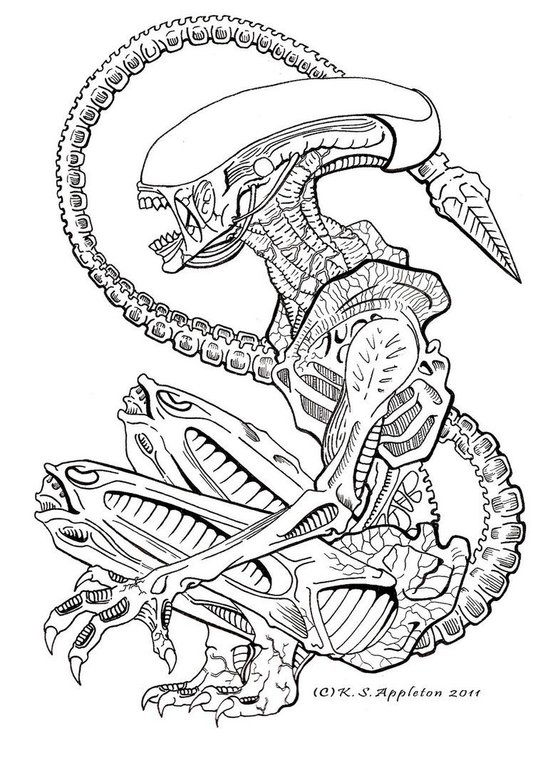 Tattoo designs coloring book - Awesome Alien Tattoo Design