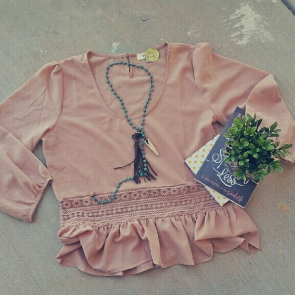 Pink top Brand new with tags pink top with ruffle hem. Tops Blouses