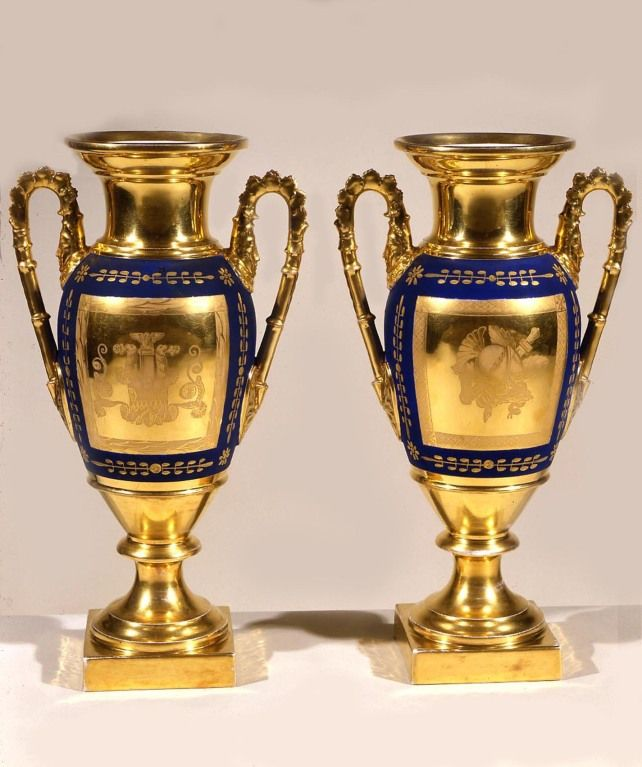 Pair Old Paris Blue And Gold Porcelain Handled Vases 1stdibs