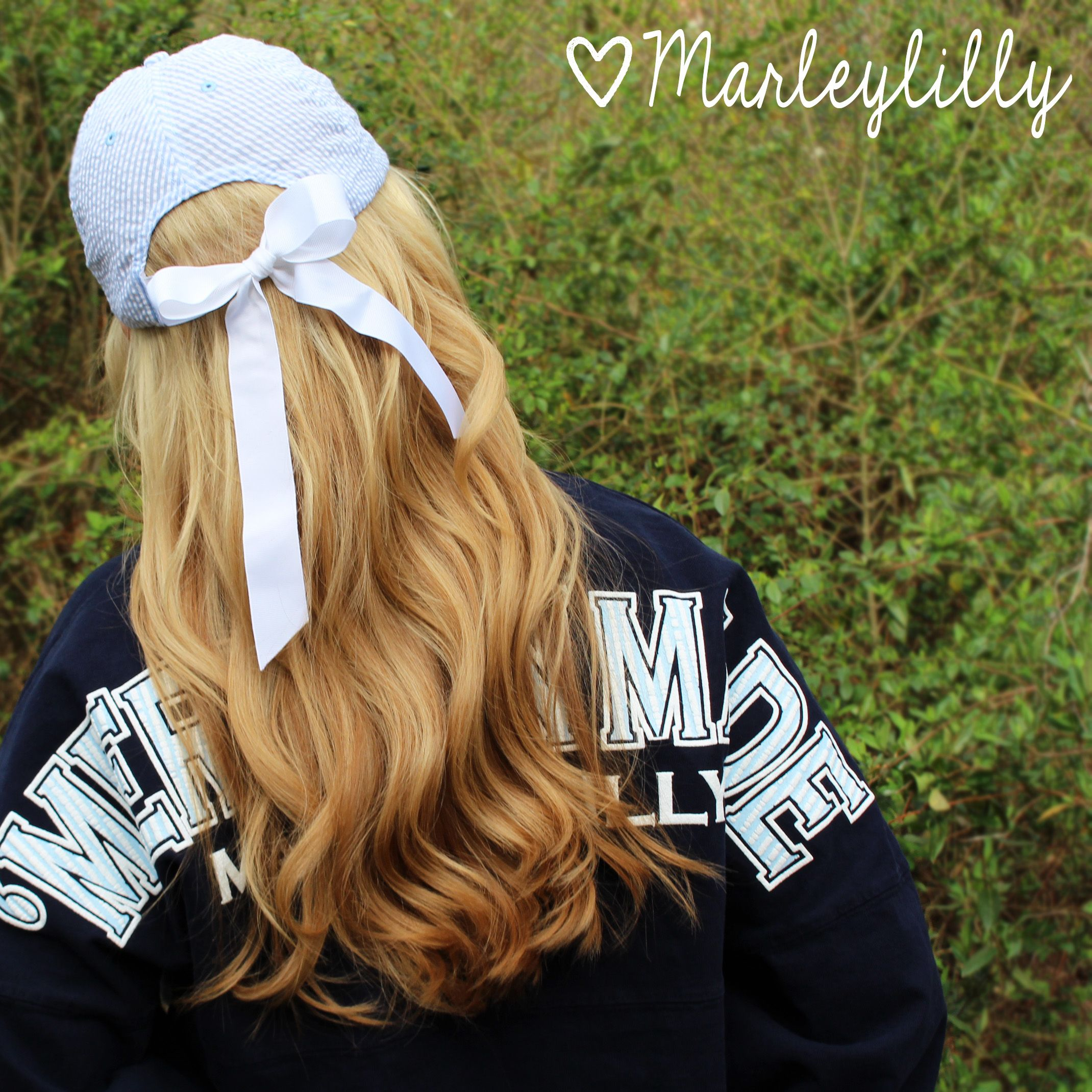 21b18a2fd026f Absolutely love the bow in the back of the hat-so cute and different !  Marleylilly.com - Monogrammed Seersucker Baseball Hat +