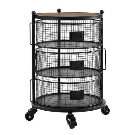 Hometrends 3 Tier Round Wire Cart With Wheels Walmart Ca