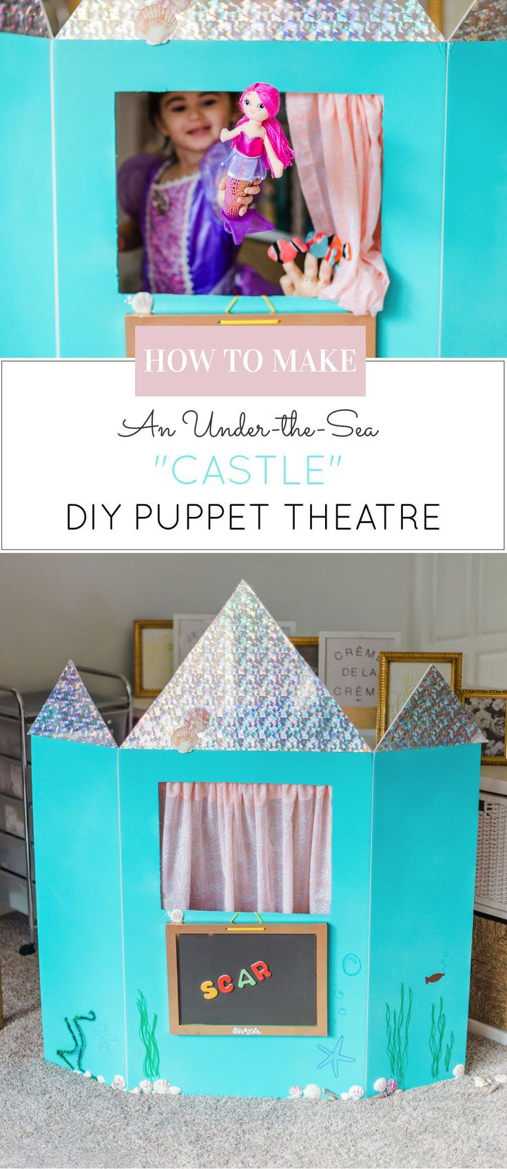 How to make a DIY Puppet Theatre with a trifold foam poster board. (Learning Colors, Numbers, and Letters too ... in an under-the-sea CASTLE!) | DIY fun for kids | kids activities | at-home play for kids | imaginative play for kids | fun activities for kids | glitterinc.com | @glitterinc