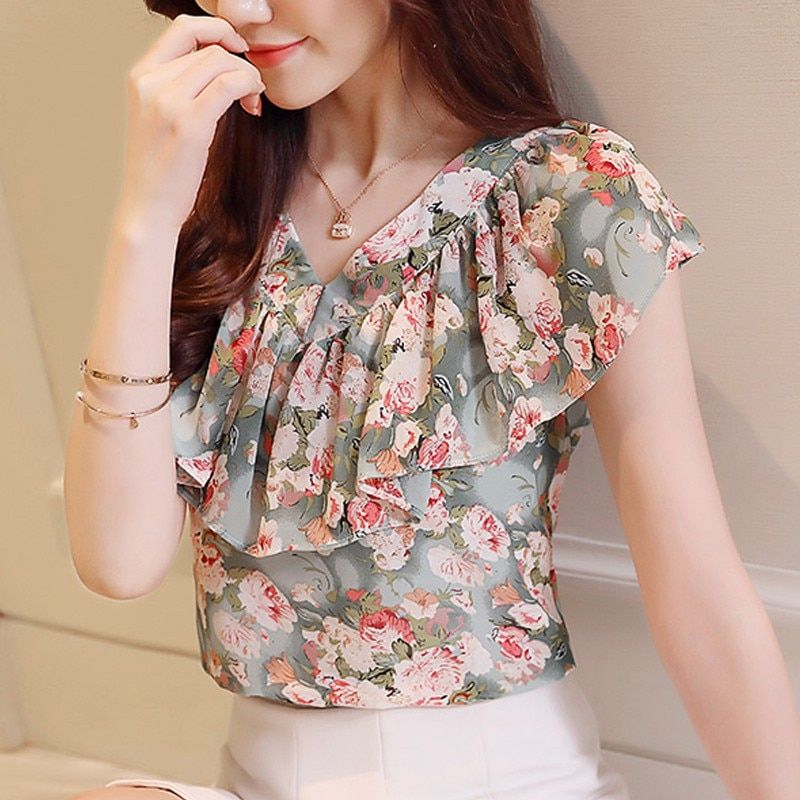 dac9beeacdd 2018 Fashion Summer Blouses Women Shirts Plus Size Floral Tops Ladies Short  Sleeve Chiffon Blusas Feminina Ruffled Blouse Mujer