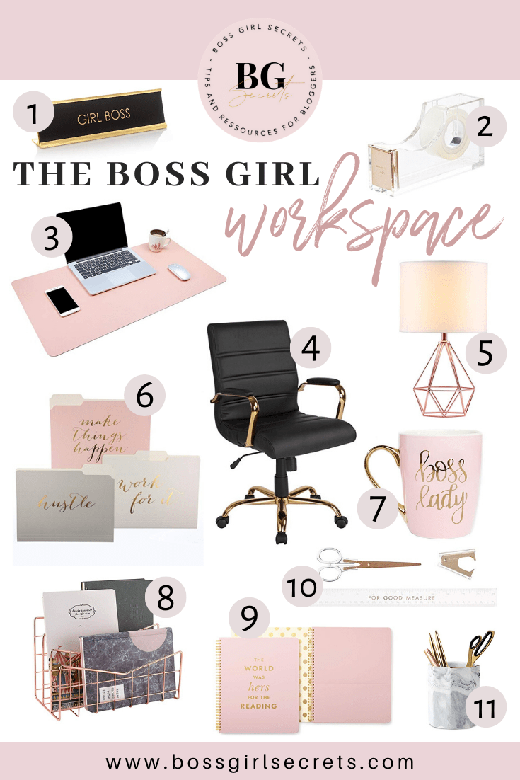Rose Gold Office Decor