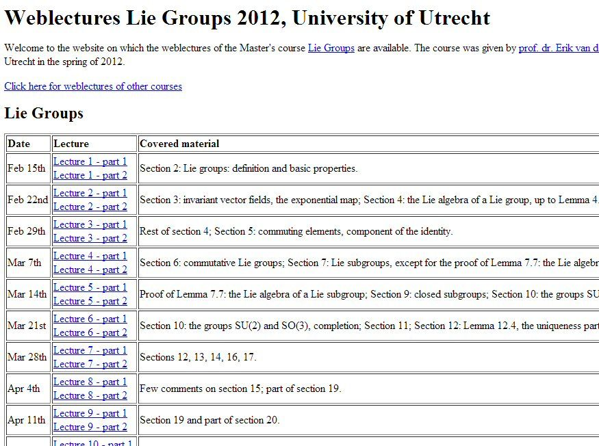 LIE GROUPS :      http://webmovies.science.uu.nl/WISM414/