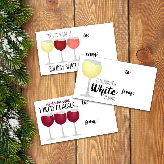 Wine Christmas Puns.Funny Saying Wine Digital Printable Gift Tags Set Of 3