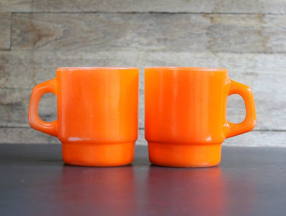 Two #Orange Anchor Hocking Fire King Coffee Cups by SundayzChild