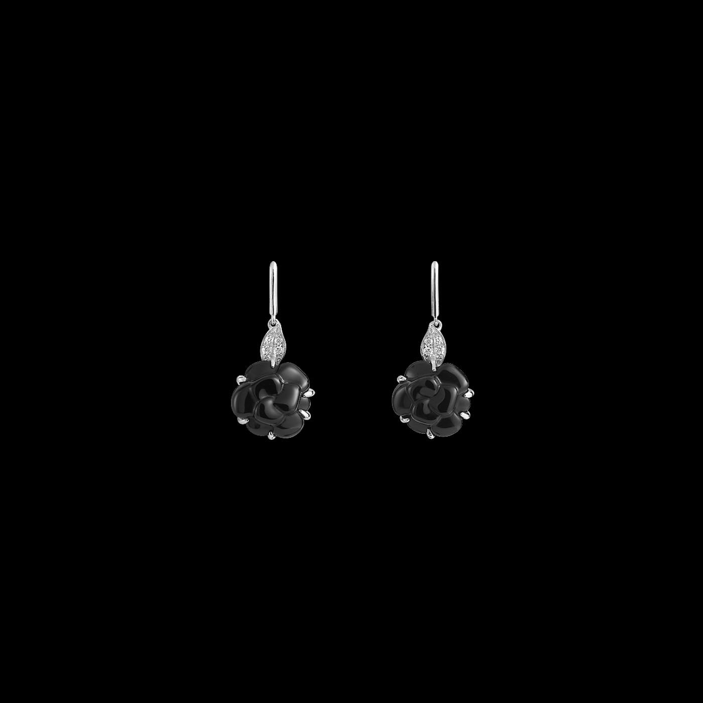 2ac2570045d11f Camélia Earrings in 18K white gold, onyx and diamonds. - Overview - CHANEL