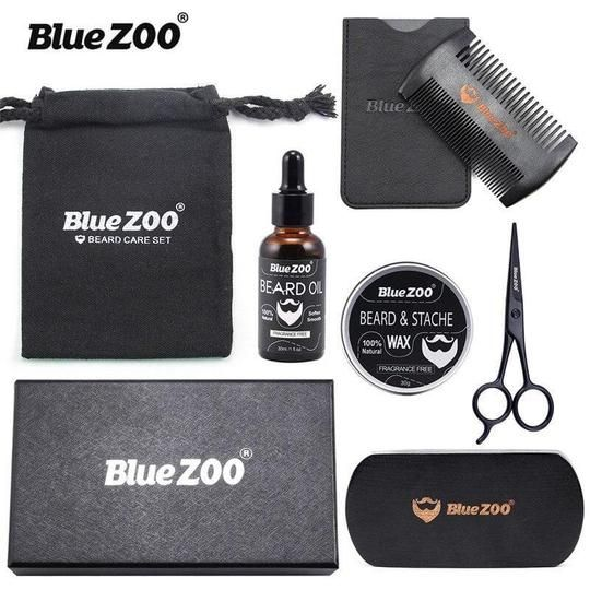 Blue ZOO Natural Organic, Men Beard Care Set, Wax Beard Oil Brush, Moisturizing Beard Kit #hairandbeardstyles