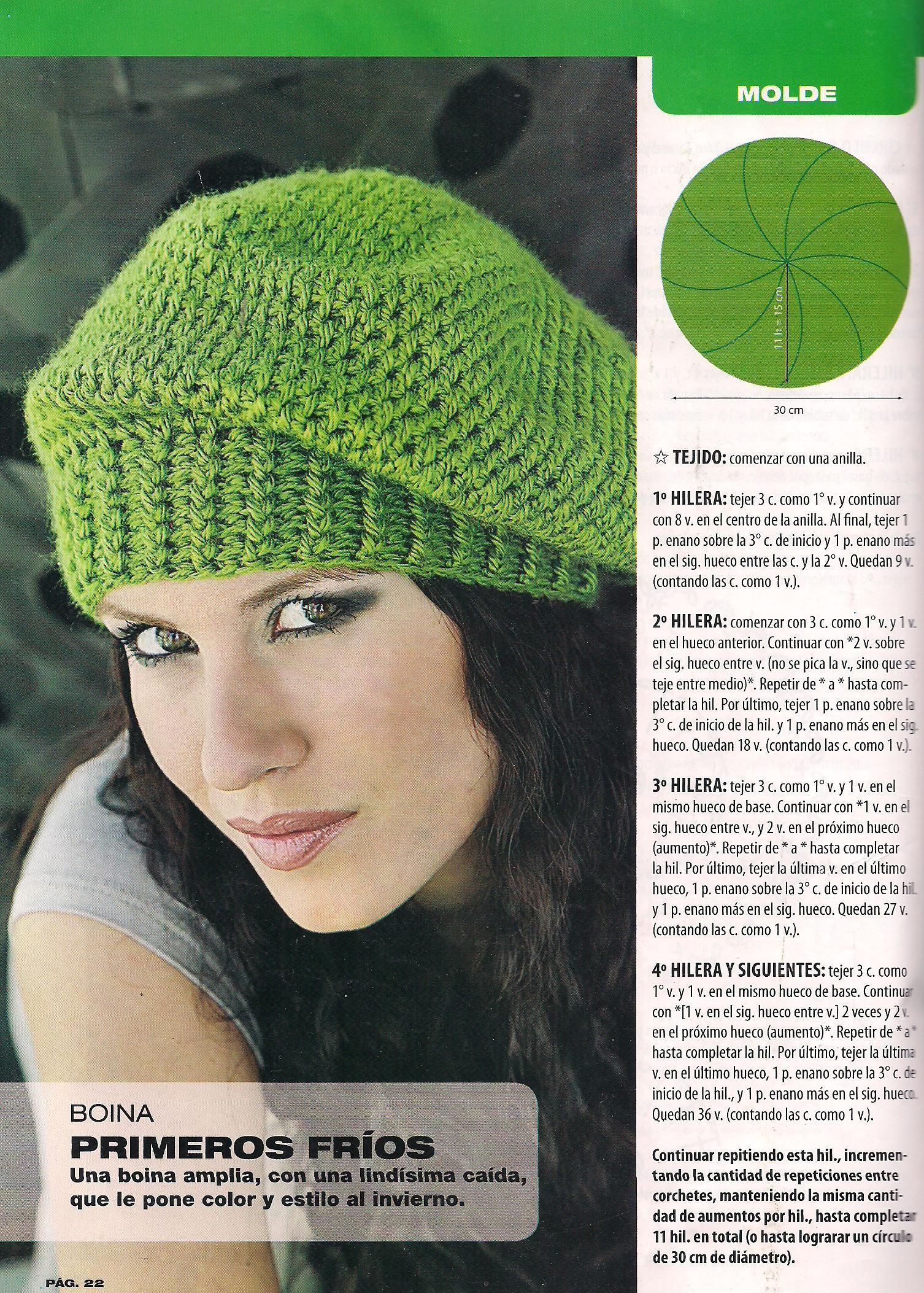 una boina tejida al crochet y su esquema | punto | Pinterest ...