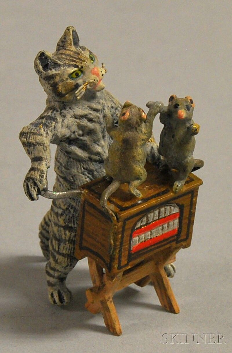 Vintage Austrian Miniature Cold Painted Bronze Figure Of A Cat With Street Organ And Dancing Mice Painted Bronze Cat Art Painting