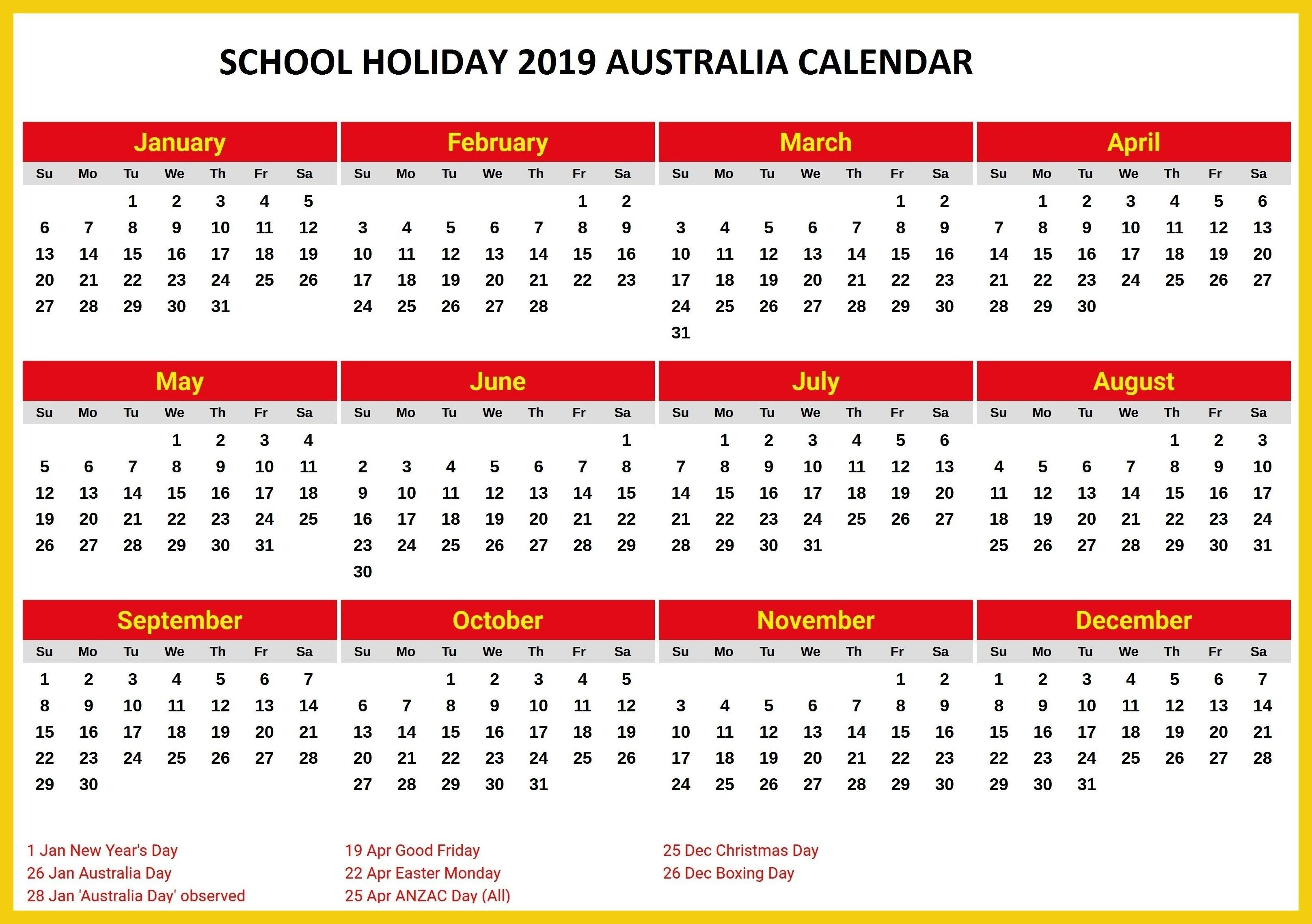 Australia 2019 School Holidays Printable Calendar 2019 Calendars