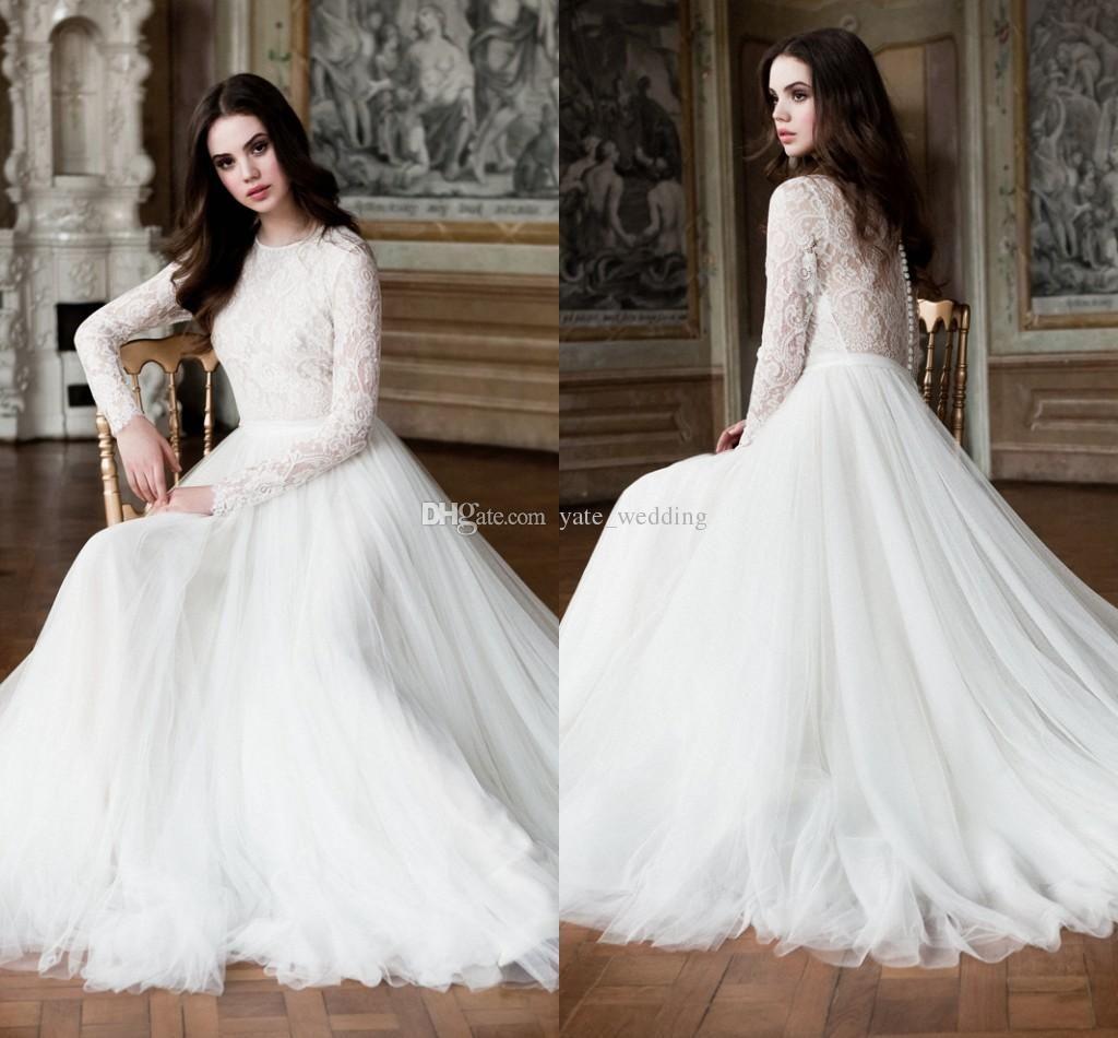 Off shoulder long sleeves wedding dresses elegant mermaid