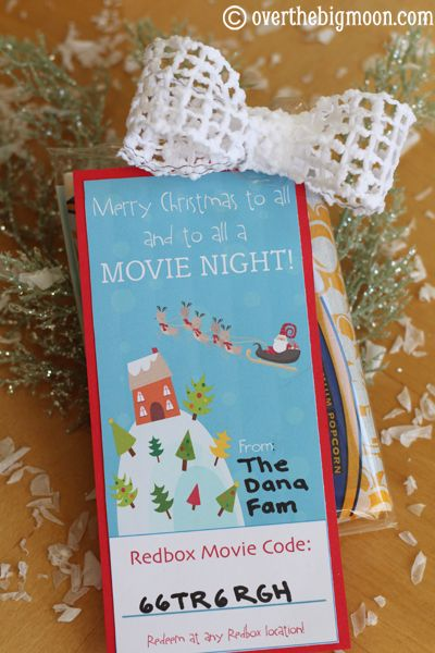 merry christmas to all and to all a movie night cute neighbor gift idea for christmas free printable tag plus how to get redbox movie codes - Redbox Christmas Movies