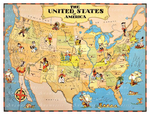 united states map high res digital image retro u s picture map to print and frame pillows totes fun retro house warming gift