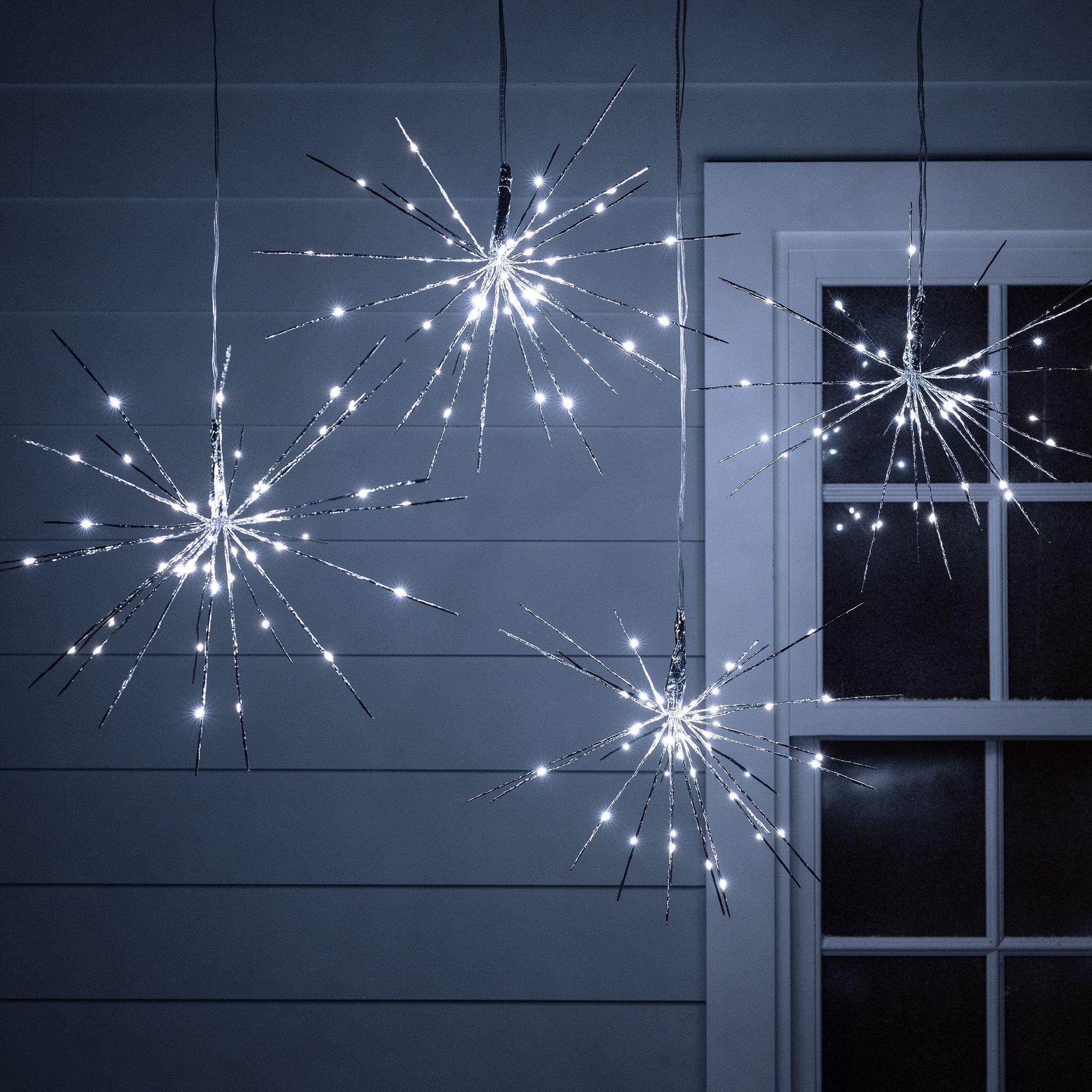 4 Silver Starburst Sparkling Christmas Lights Outdoor Christmas Lights Christmas Lights Indoor Christmas Lights