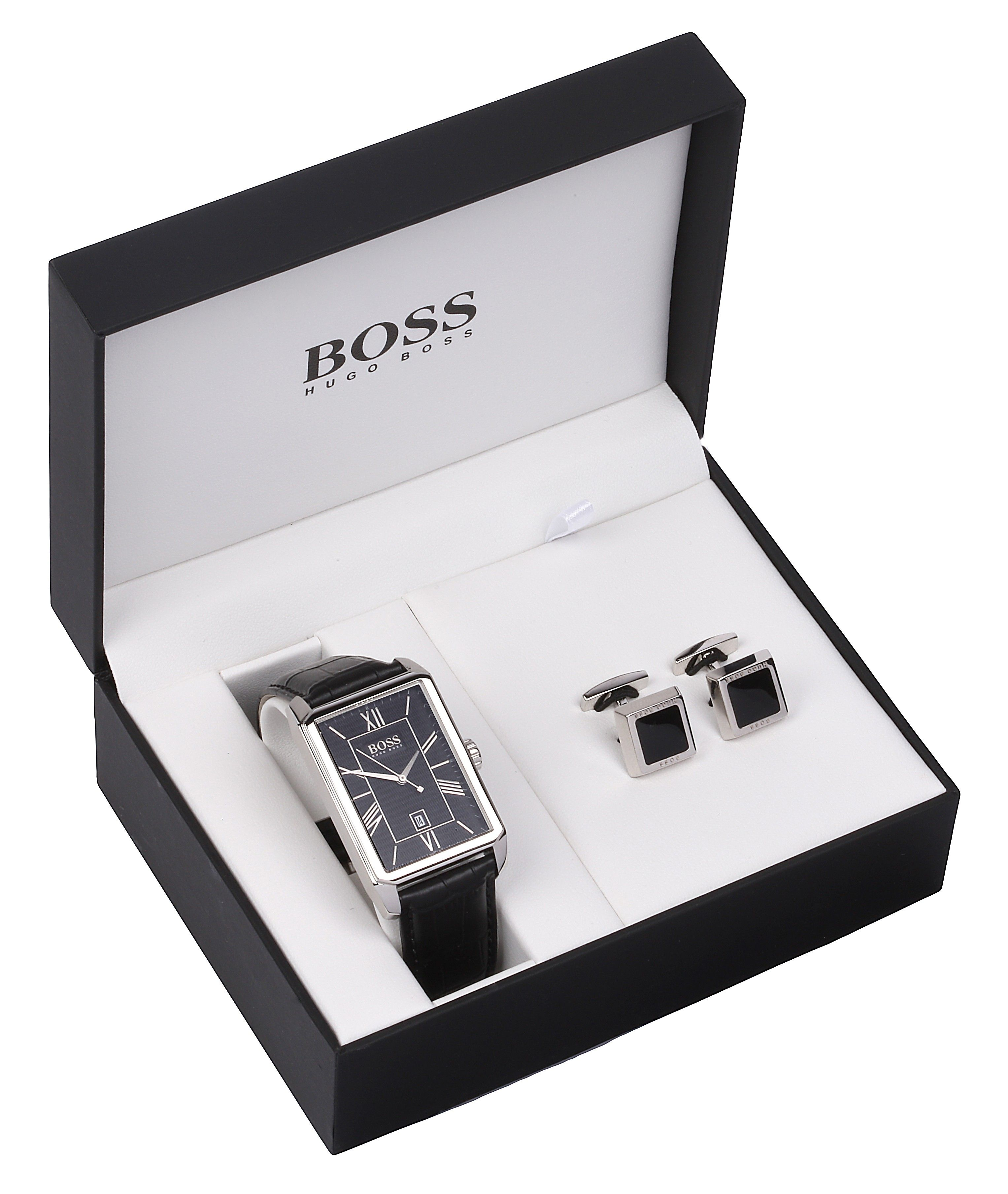 hugo boss men s leather strap watch and cufflink set fraser hart hugo boss men s leather strap watch and cufflink set fraser hart jewellers