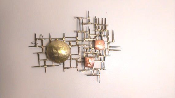 Eames era mid century modern metal wall art cut nails with copper ...