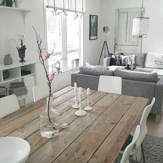 Sala tono gris  mesa comedor de madera  Salones en 2019