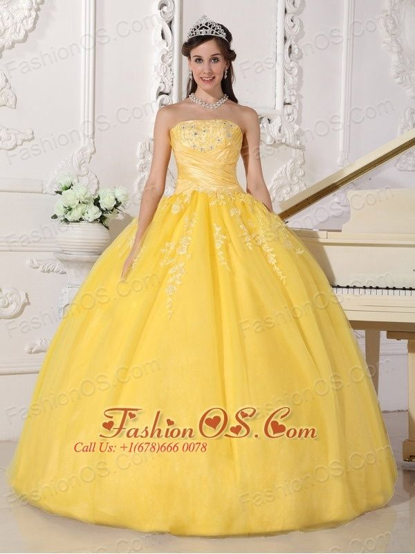 215a50cda89 Romantic Yellow Quinceanera Dress Strapless Taffeta and Tulle Appliques  Ball Gown http   www