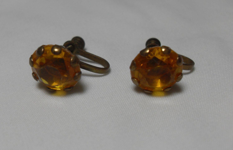 Yellow rhinestone earrings, Art Nouveau Chaton cut screw back brass 1930's high fashion hipster jewelry, gift for her, Gingerslittlegems by GingersLittleGems on Etsy