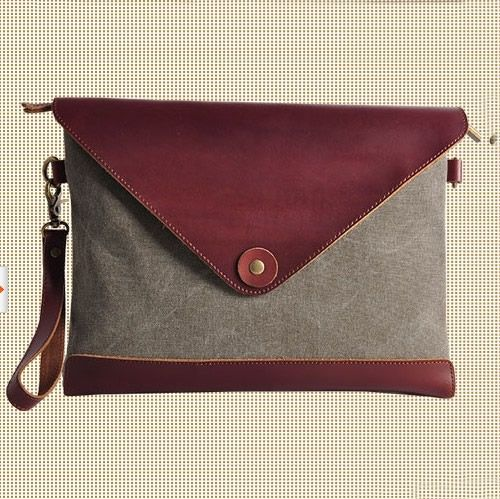 GRAY Cow leather envelope bag canvas IPAD bag Leather Briefcase  CANVAS  Messenger bag   Laptop bag   Men s leather canvas Bag(8008) · Handma. f2392059a305c