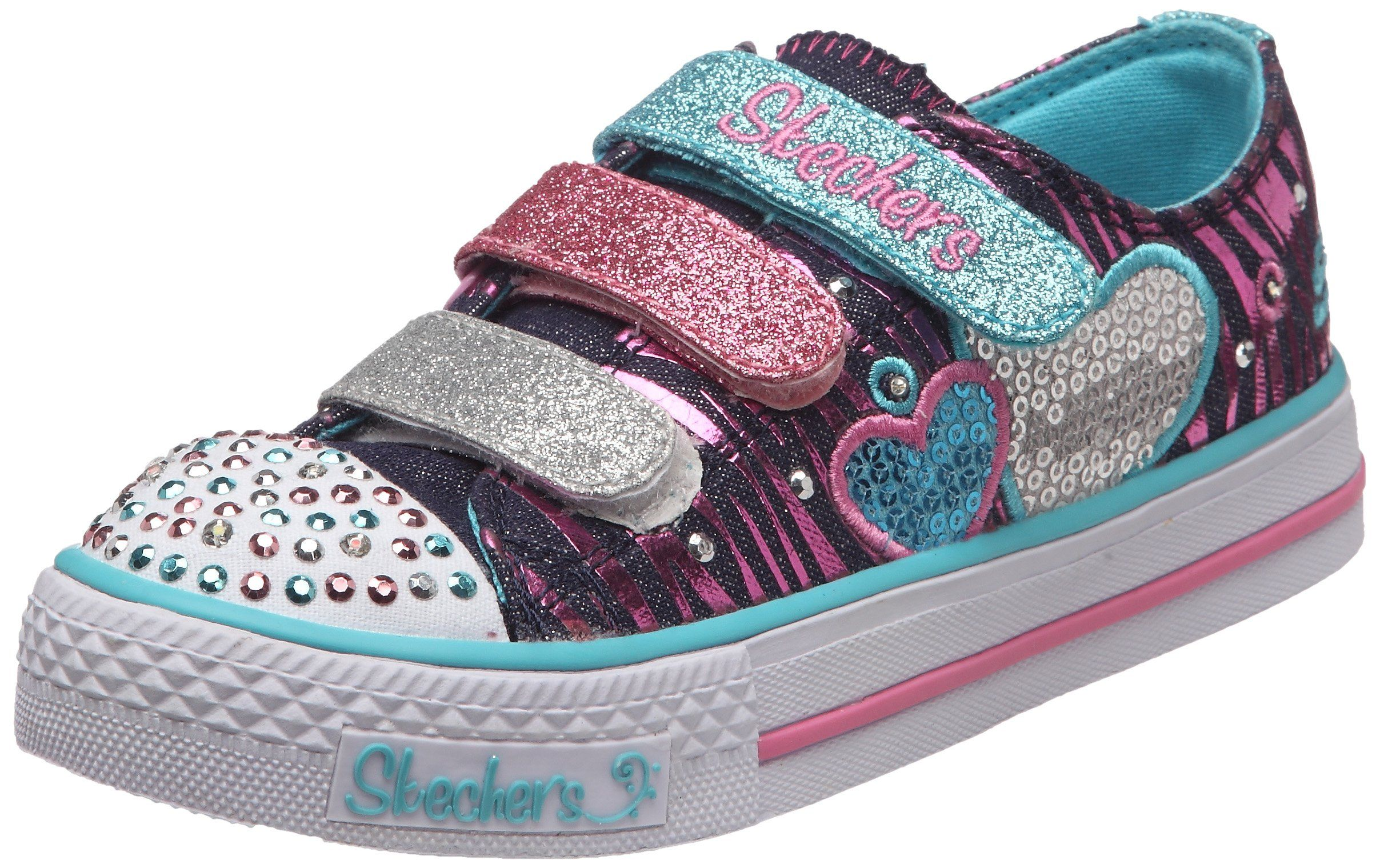 3acacb2ca025 Skechers Girls Shuffles Triple Time Low-Top 10203L Denim Multi 11.5 UK  Child