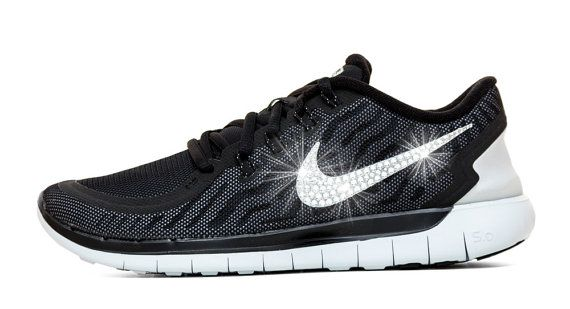 7ed1f00fd80b Blinged Women s Nike Free 5.0 Running Shoes Black White