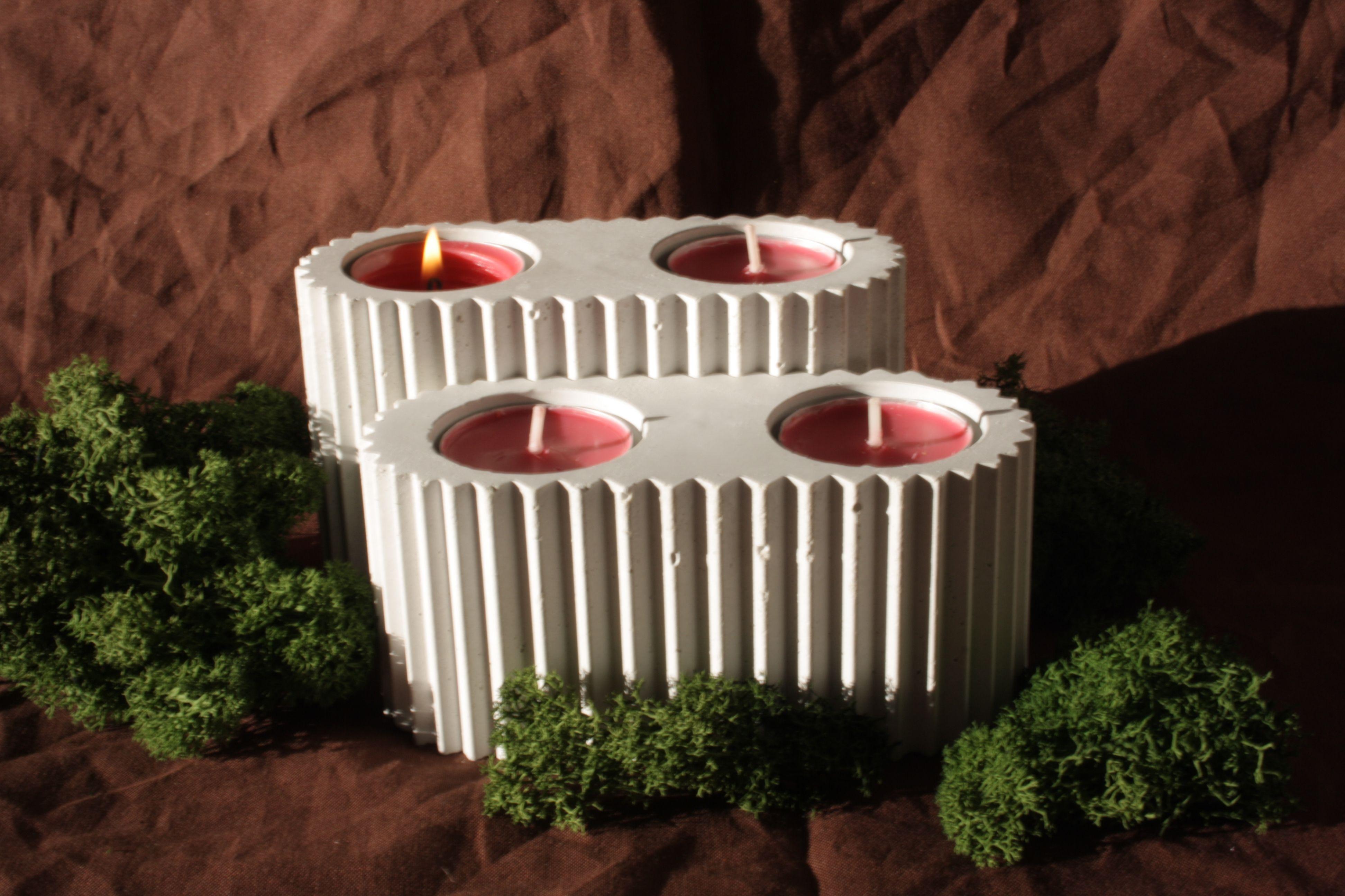 Beton Teelichthalter Plissee