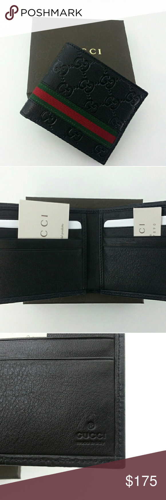 60b9184bae1eb7 Gucci Mens Black Web Strip Bi fold Wallet GUCCI Original Authentic Mens  Black