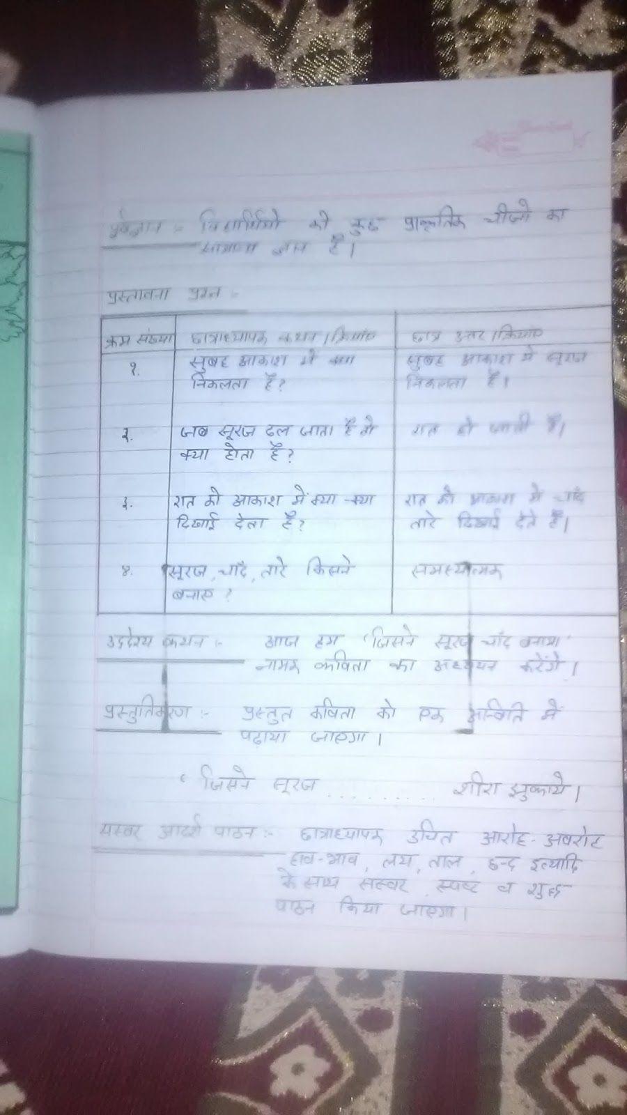 btc lesson plan hindi for primary class | make lesson plan | Pinterest