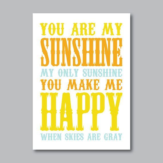 You Are My Sunshine Print - 5x7 - Orange, Yellow, Light Blue OR Choose Colors - Modern Wall A... You Are My Sunshine Print - 5x7 - Orange, Yellow, Light Blue OR Choose Colors - Modern Wall Art for Nursery, Kids Room, Home Decor Idee di Tendenza  di Moda 🍜