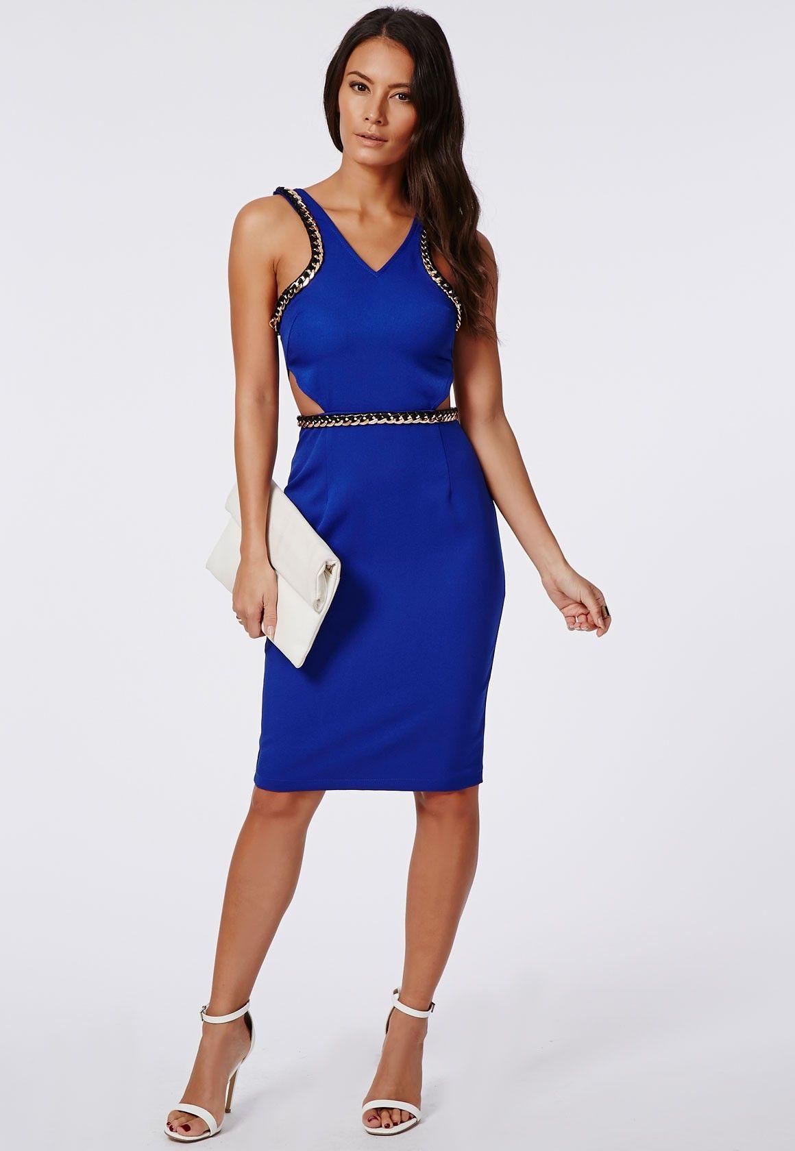 Bodacious Jessie Crepe Chain Trim Midi Dress Cobalt Blue Jessie Crepe Chain Trim Midi Dress Cobalt Blue Midi Dresses Cobalt Blue Dress Long Cobalt Blue Dress Outfit