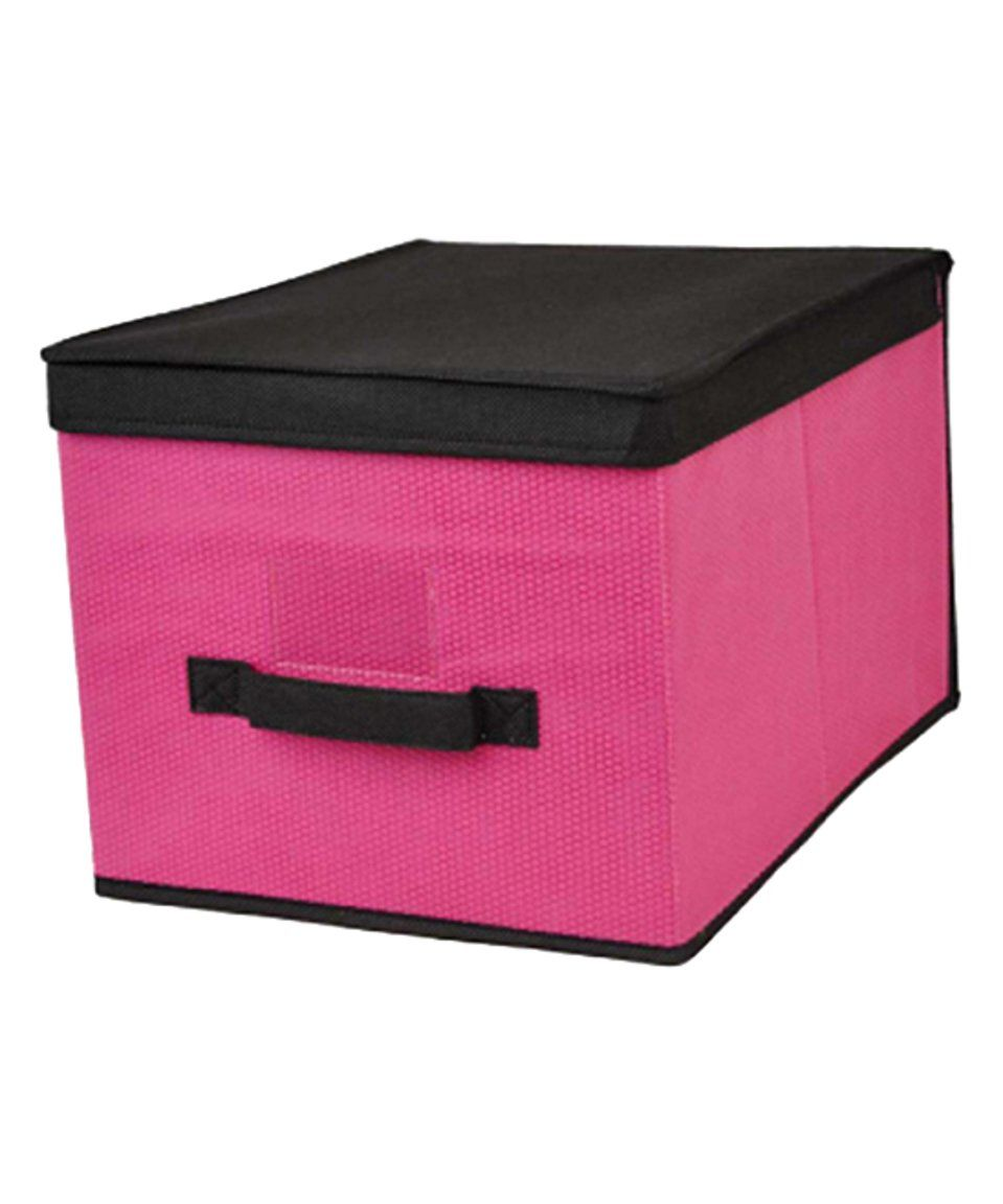 Pink  Rectangular Lidded Storage Box by home basics #zulily #zulilyfinds