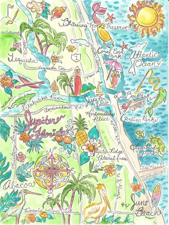 Map Of Watercolor Florida.Map Of Jupiter Watercolor In 2018 Products Map Watercolor
