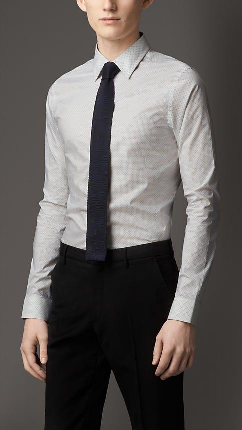 7f480c0f62c0 Burberry London Cerulean blue Slim Fit Polka Dot Cotton Shirt - A slim fit  shirt in