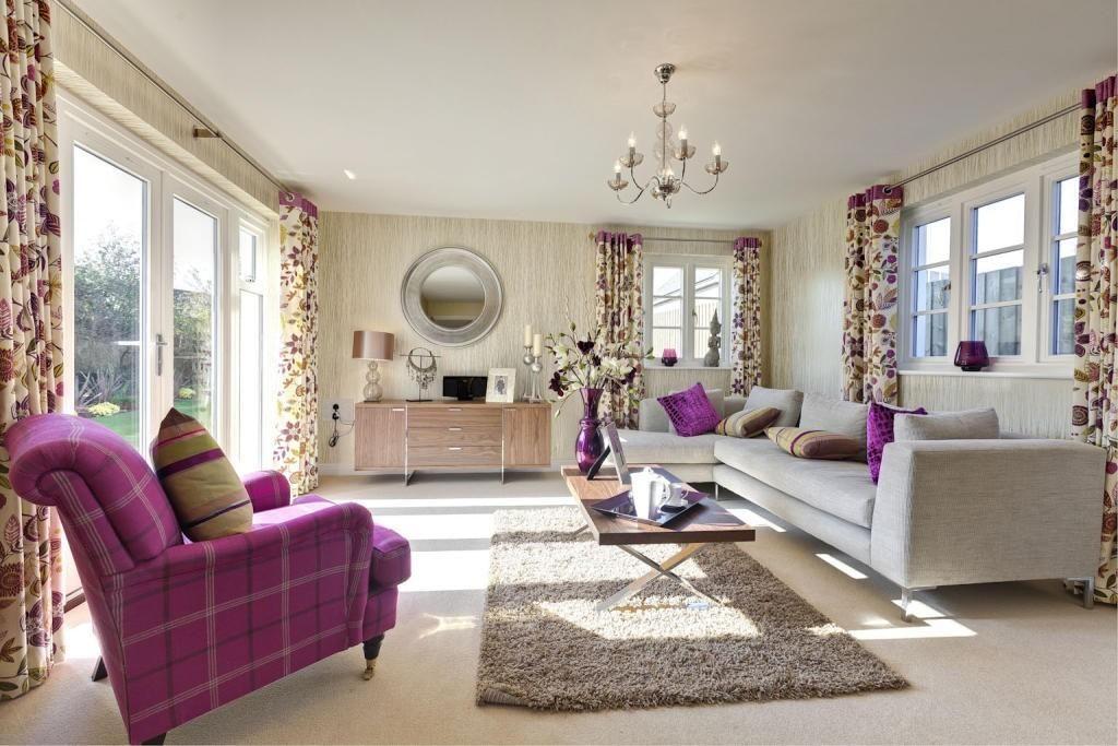 purple and beige | Purple living room, Purple living room ...
