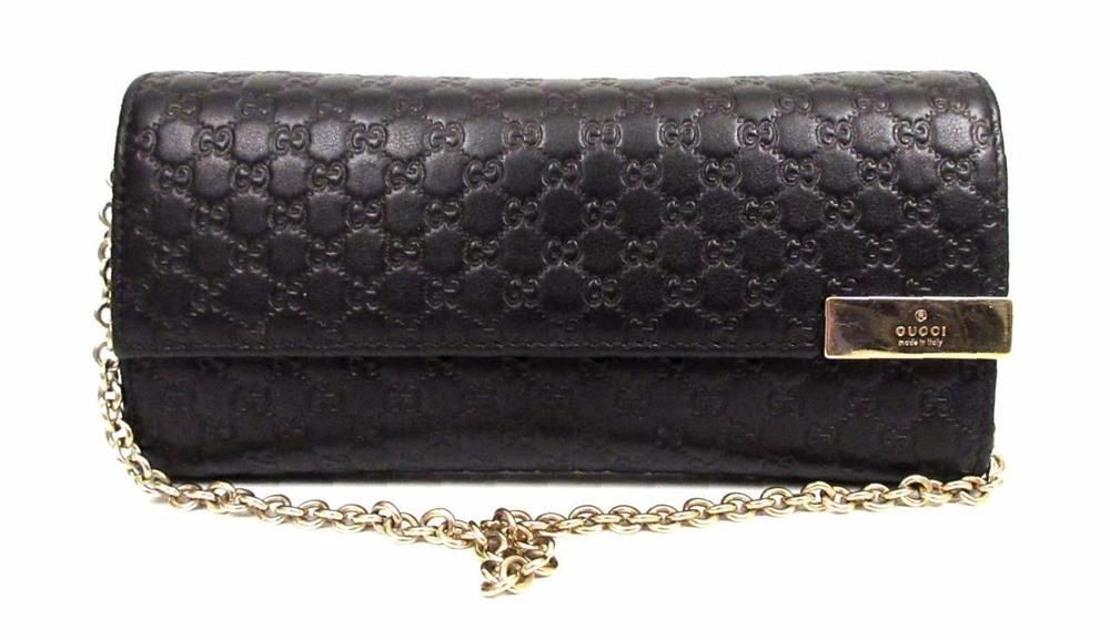 08b2ae93c848 GUCCI BLACK SIGNATURE MICROGUCCISSIMA EMBOSSED LEATHER CHAIN WALLET | eBay