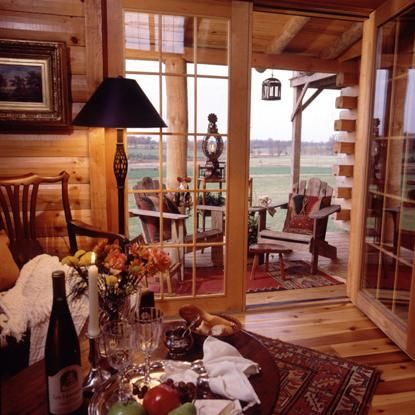 Double French Doors Leading Out To The Wilderness. Log Cabin KitsLog ...