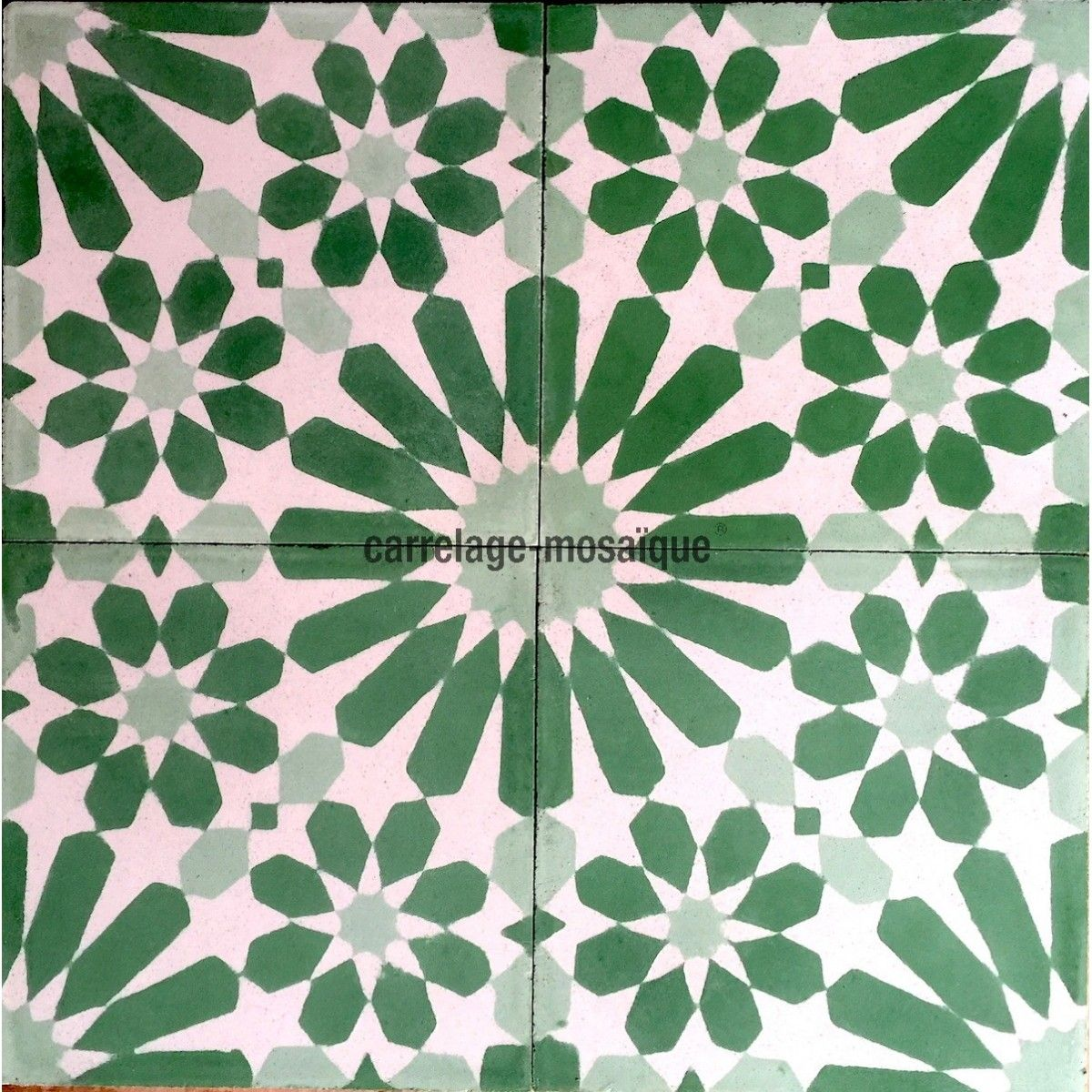 carreaux en ciment 1m2 modele anso-vert - carrelage-mosaique | tile
