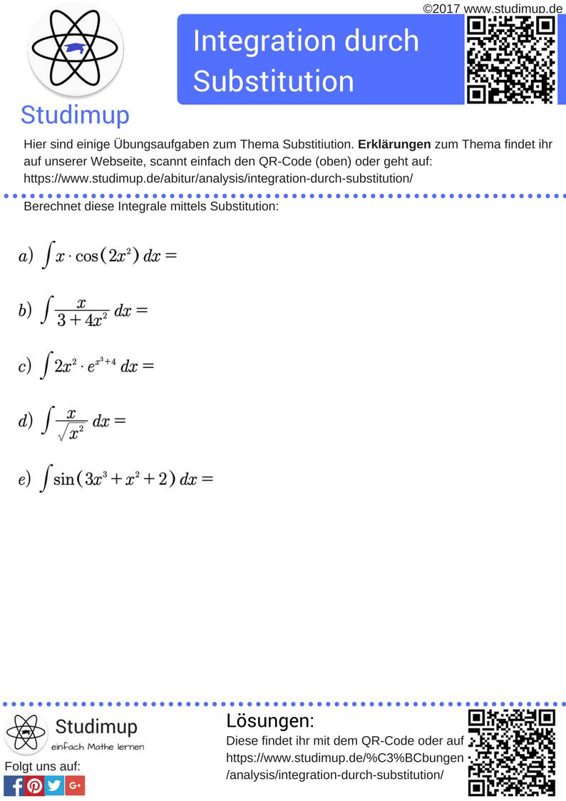 Übungsaufgaben zur Integration durch Substitution. | Mathe ...