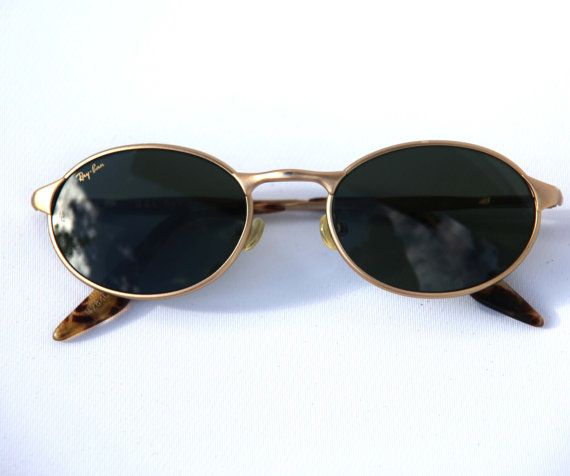 be7ca8ad81 Vintage RAYBAN Oval Steampunk Sunglasses OVAS W2840 in Matte Gold Dark  Green Lenses Tortoiseshell Arms Explorer Glacier Glasses Near New