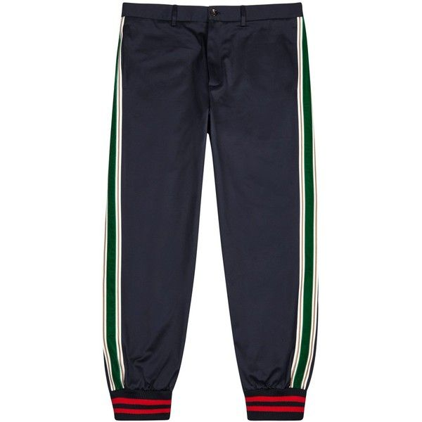 7d1f69fbb Gucci Navy Striped Cotton Twill Trousers - Size W32 ($750) ❤ liked on  Polyvore