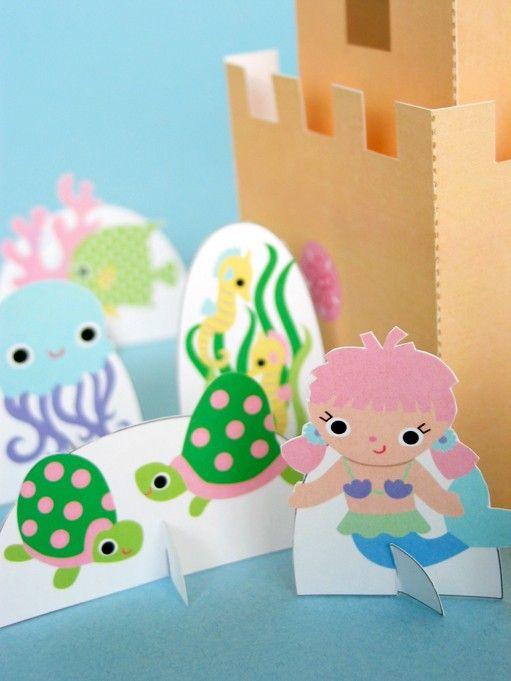 Mermaid Sandcastle Playset Printable Paper Craft by FantasticToys, $4.00